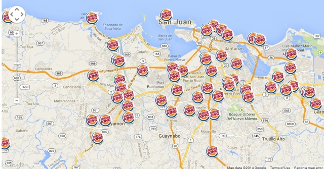 Burger King map San Juan metro zoom2