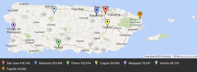 Puerto Rico large cities outside of San Juan metro