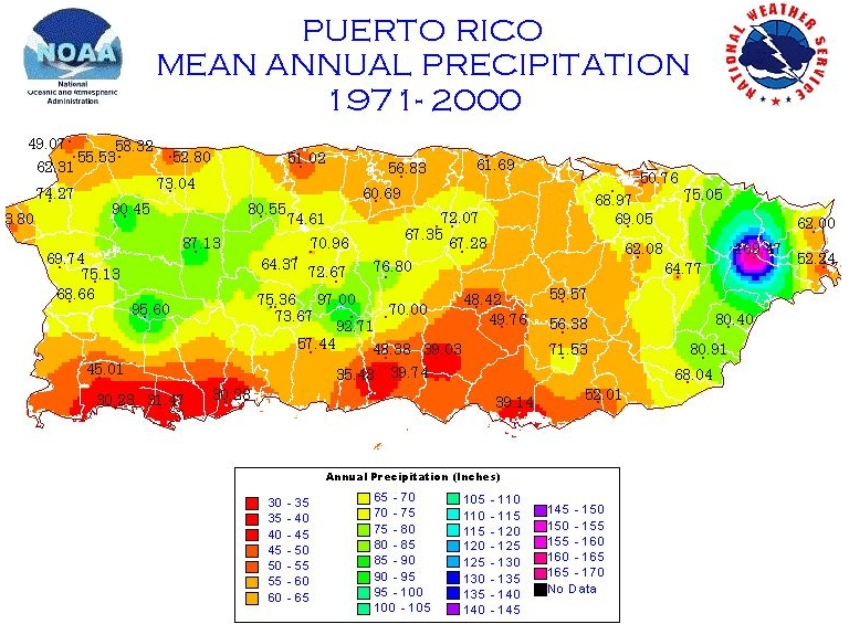 Climate, temperature, precipitation, and weather maps in Puerto