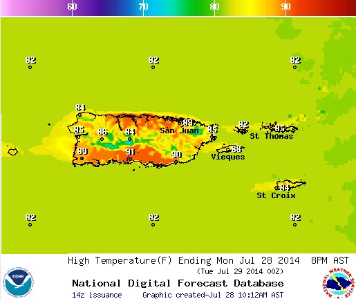 Puerto Rico Weather Map Climate, temperature, precipitation, and weather maps in Puerto