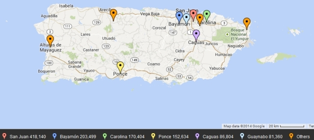 Puerto Rico top 10 cities by population