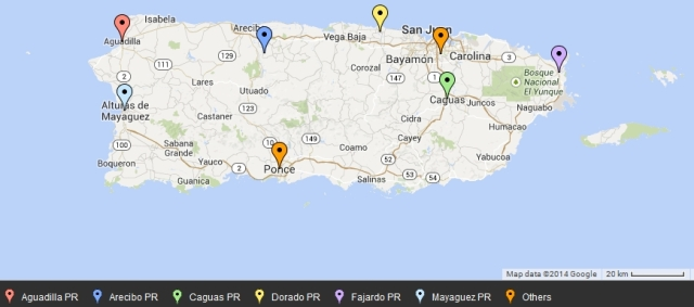 Puerto Rico - metro areas on map