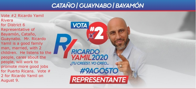 Ricardo Yamil 2020 Vote #2 in District 6 on August 9 Primary