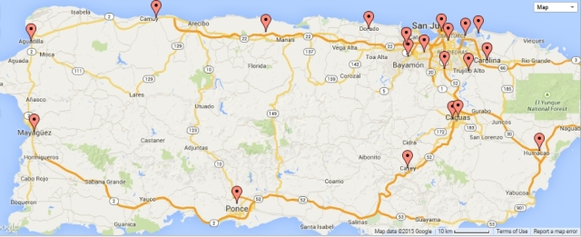 Puerto Rico Chili's restaurant locations - click map to enlarge