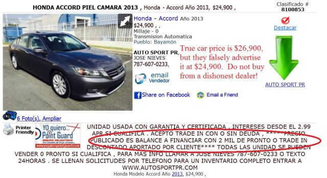 Auto Sport PR, AutoSportPR posts false and misleading car prices on ClasificadosOnline