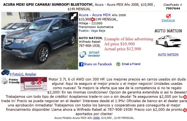 ClasificadosOnline Auto Nation misleading ad