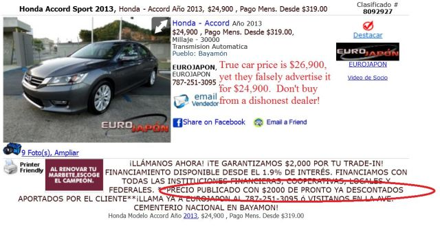 EuroJapon posts false and misleading car prices on ClasificadosOnline