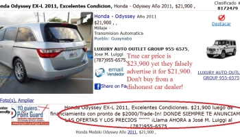 Dishonest car dealers posting the same cars on ClasificadosOnline