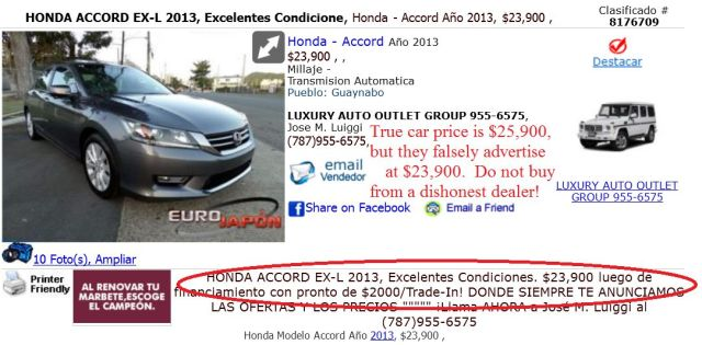 Luxury Auto Outlet Group posting false and deceptive prices