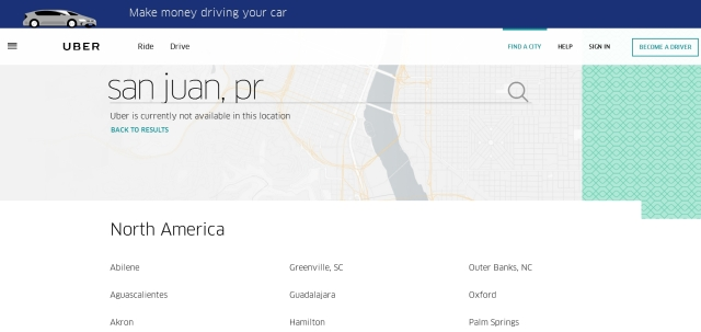 Uber not available in Puerto Rico