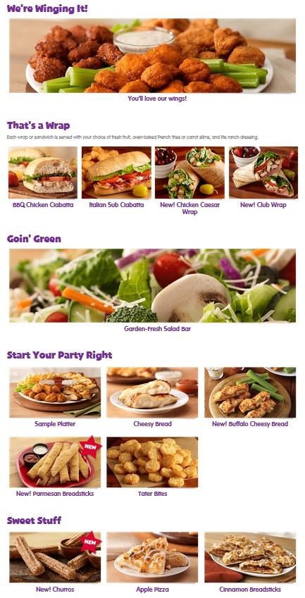 chuck e cheese other foods