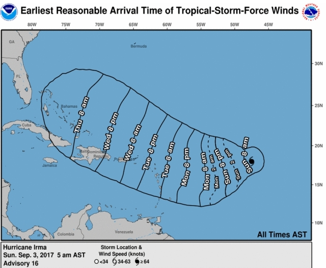 hurricane earliest arrival time of tropical storm force winds no color