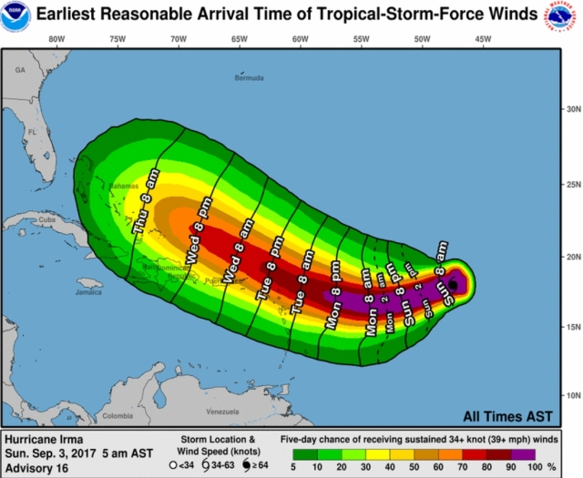 hurricane earliest arrival time of tropical storm force winds