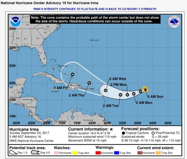 hurricane Irma cone of probable path