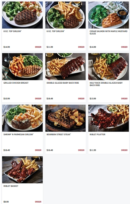 Applebee's entrees from the grill