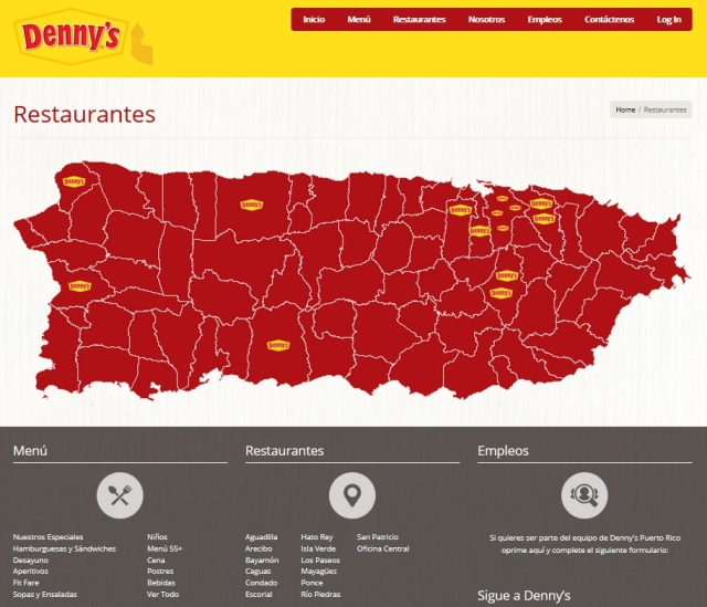 Denny's Puerto Rico locations on map